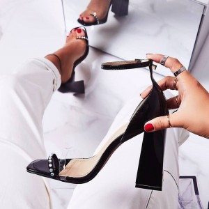 Black Patent Leather Ankle Strap Block Heel Sandals