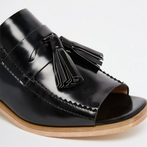 Black Patent Leather Loafer Mules Open Toe Tassel Loafers for Women