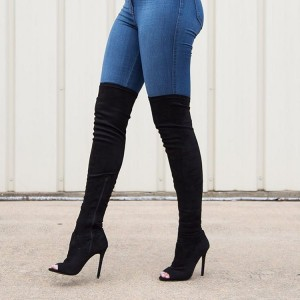 Black Peep Toe High Heel Boots Over-the-Knee Stiletto Boots