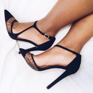 Black Polka Dots Mesh Pointy Toe Ankle Strap Heels Pumps
