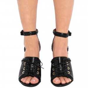Black Python Lace up Open Toe Chunky Heel Sandals Ankle Strap Sandals