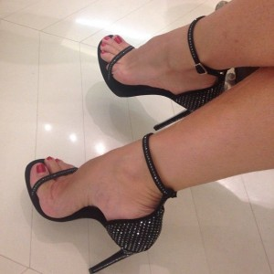 Black Rhinestone Open Toe Stiletto Heel Ankle Strap Sandals
