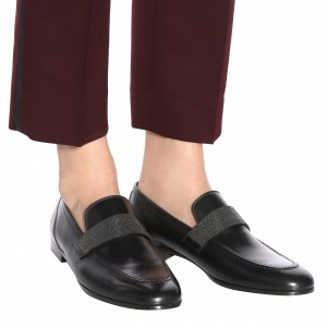Black Round Toe Office Shoes Comfortable Flats Loafers for Women