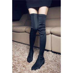 Black Round Toe Flat Thigh High Boots for Women