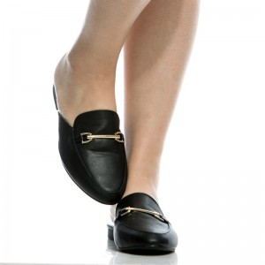 Black Comfy Loafer Mules Round Toe Flat Loafers for Women
