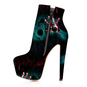 Black Platform Boots Ghost Print Ankle Boots for Halloween