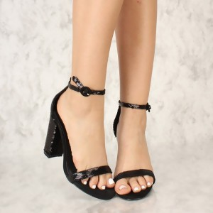 Black Sequined Open Toe Chunky Heels Sandals Prom Shoes