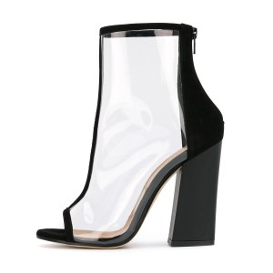 Black Short Boots Peep Toe Chunky Heel Fashion Clear Ankle Boots