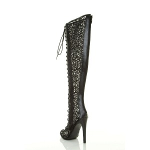 Black Summer Boots Lace up Peep Toe Lace Knee High Gladiator Boots