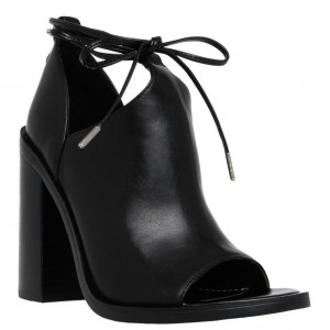 Black Cut Out Boots Open Toe Chunky Heel Strappy Ankle Boots