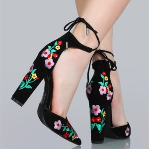 Black Embroidered Floral Heels Suede Pointy Toe Chunky Heels