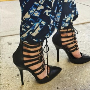 Black Strappy Heels Stiletto Heel Pointed Toe Pumps