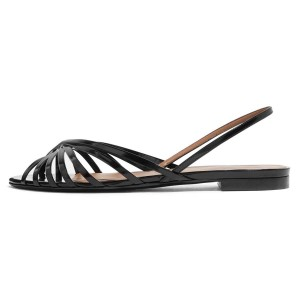 Black Slingback Comfortable Flats Sandals