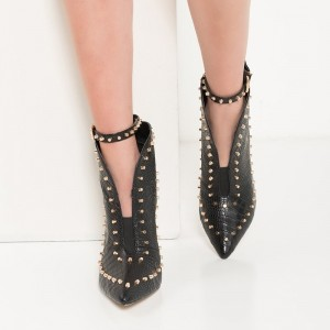 Black Studs Textured Vegan Leather Boots Ankle Booties with Buckle