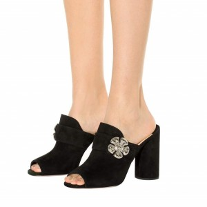 Black Suede Block Heel Sandals Peep Toe Jewel Mule