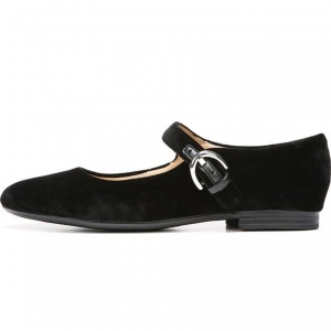 Black Suede Buckle Mary Jane Shoes Comfortable Flats