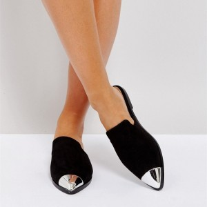 Black Suede Flats Mule Metallic Pointed Toe Loafers for Women