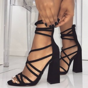 Black Suede Strappy Sandals Open Toe Chunky Heel Sandals with Zipper