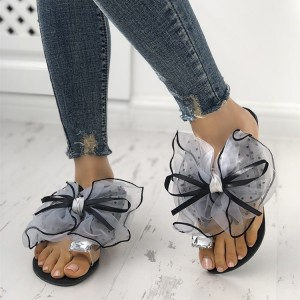 Cute Bow Toe Loop Sandals Summer Women's Slide Sandals in Black