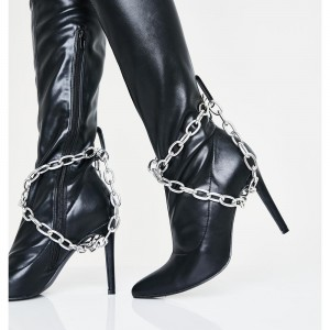 Black Thigh High Heel Boots Chains Stiletto Heel Boots