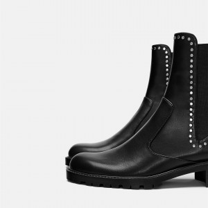 Black Vegan Leather Chelsea Boots Round Toe Studs Ankle Boots