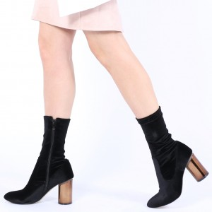 Black Velvet Boots Cylindrical Heel Fashion Ankle Boots