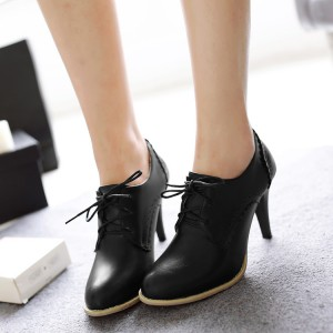 Black Oxford Heels Lace up Round Toe Vintage Shoes US Size 3-15