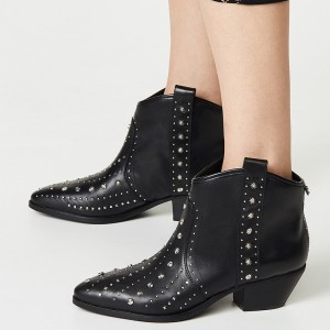 Black Western Boots Studs Block Heel Ankle Boots