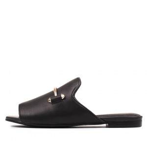 Black Women's Slide Sandals Metal Open Toe Flats