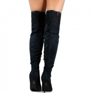 Black Laser Cut Thigh High Heel Boots Suede Stiletto Heel Long Boots