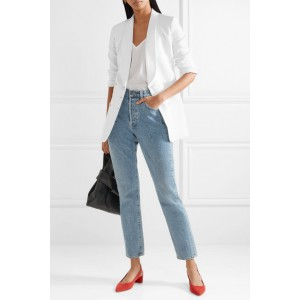 White Double-breasted Linen Blazer Business Clothes for Women