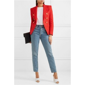 Women's Coral Red Double-breasted Fashion Blazer