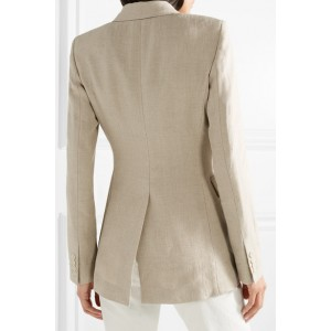 Nude Double-breasted Fashion Linen Blazer for Women
