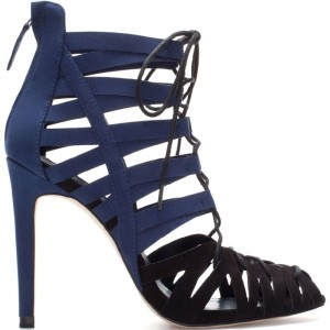 Blue and Dark Brown Lace up Sandals Suede Stiletto Heels for Women