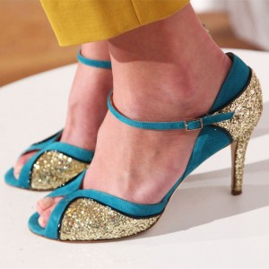 Blue and Gold Glitter Stiletto Heels Pumps