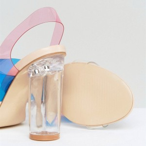 Blue and Pink PVC Chunky Heel Clear Sandals Slingback Heels Sandals