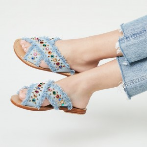 Blue Cross Over Denim Rhinestones Women's Slide Sandals