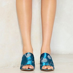 Blue Embroidery Block Heels Mule for Women