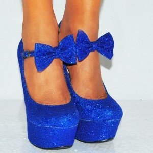 Royal Blue Wedge Heels Closed Toe Platform Glitter Bow Pumps