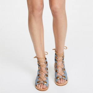 Blue Jean Block Heel Slingback Lace Up Sandals