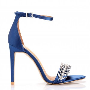 Blue Rhinestone Heels Open Toe Stiletto Heels Ankle Strap Sandals