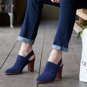 Navy Round Toe Chunky Heels Slingback Ankle Booties