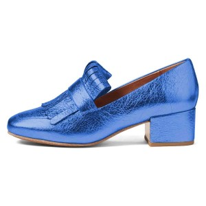 Blue Square Toe Chunky Heels Fringe Loafers for Women US Size 3-15