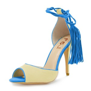 Blue and Yellow Tassel Sandals Peep Toe Suede Stiletto Heels