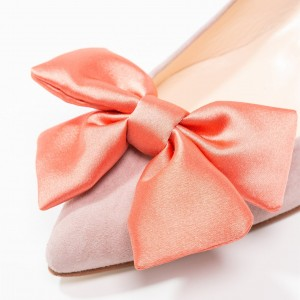 Blush Chunky Heels Pointy Toe Office Heels with Bow