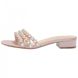 Blush Satin Pearl Women's Slide Sandals
