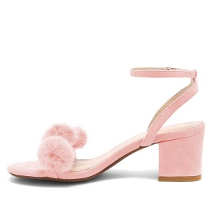 Pink Suede Pom Pom Shoes Block Heel Fur Ankle Strap Sandals