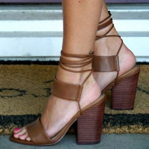 Brown Ankle Strap Block Heel Strappy Sandals
