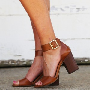 Tan Block Heel Buckle Ankle Strap Sandals
