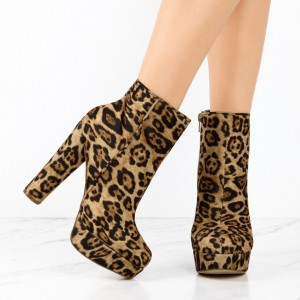 Leopard Print Boots Suede Chunky Heel Platform Ankle Boots